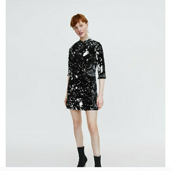 Black and Silver Sequin Dress